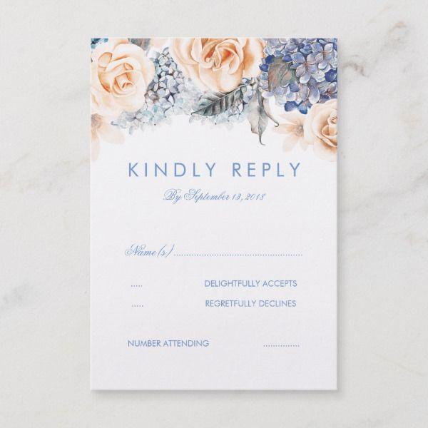 Dusty Blue And Peach Floral Wedding Rsvp Card Zazzle Com Ideias De Convite Convite Ideias