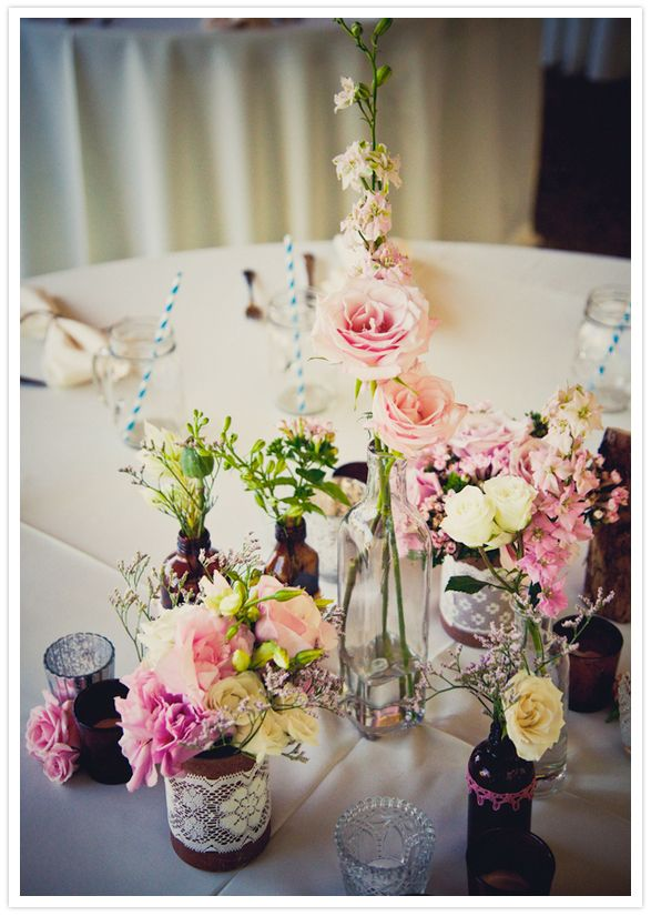 bottles + lace = heaven   pastel rose mason bottle vases
