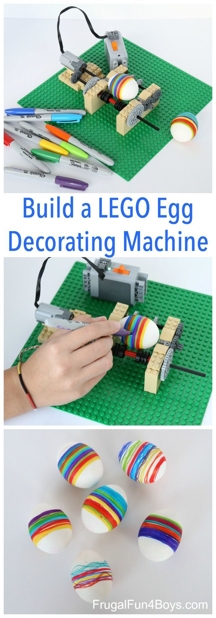 Take Easter egg decorating to a whole new level with this fun LEGO machine!  The machine spins the egg so that all you have to do is hold the marker and it draws straight lines.  (Well, relatively straight.)  Oh my goodness, this was such a fun project!  It would make a great engineering challenge for...Read More »
