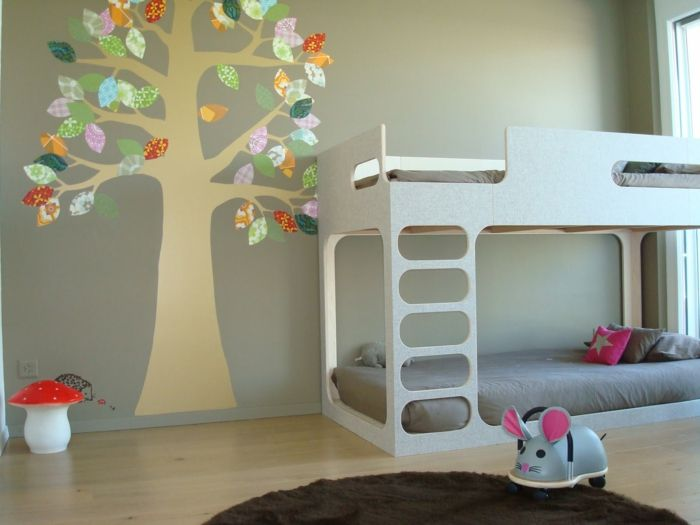 gestaltung kinderzimmer gestalten wandgestaltung schreibtisch kleiderschrank teppich baum - Babyzimmer Modern Gestalten