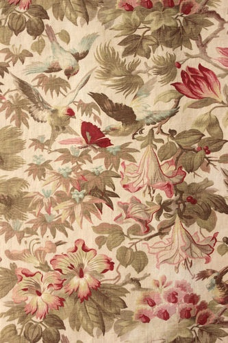 Antique French Bird and butterfly printed heavy weight cotton ~ gorgeous pinks ~ beautifully aged fabric from early bed hanging set ~*~