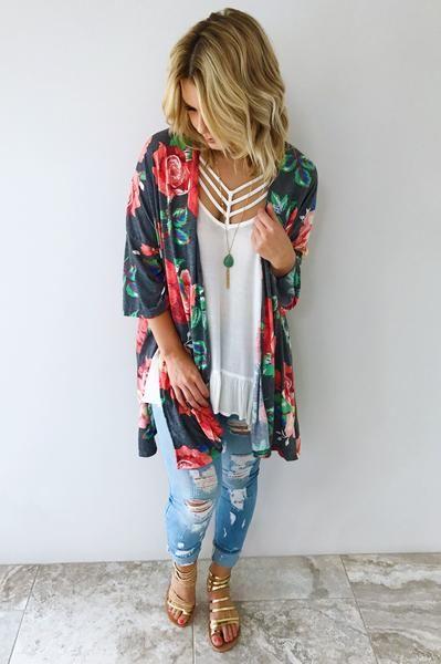Stole My Heart Kimono: Multi