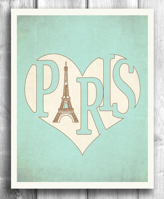 Teal Paris Poster Typographic print Vintage poster by HappyLetterShop