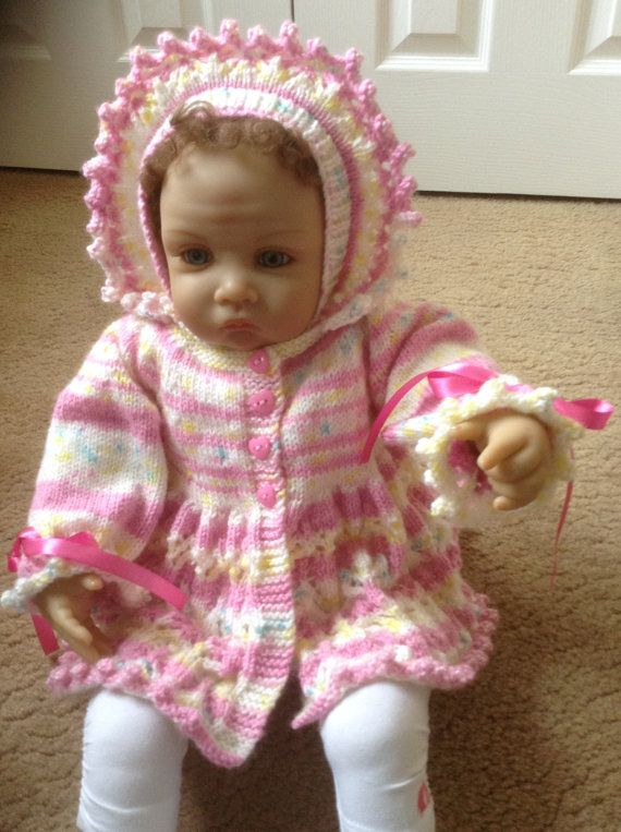 Baby Matinee Coat and Bonnet Set in Multi by Meganknits4charity