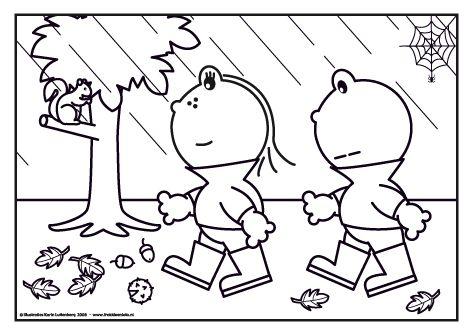 Het is herfst en de bladeren vallen van de bomen. Het regent maar dat maakt Frokkie en Lola niks uit. Laarzen aan en het bos in!