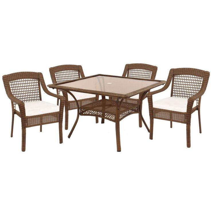 Hampton Bay Spring Haven Brown 5 Piece Patio Dining Set With Bare Cushion 56 2995 The Home