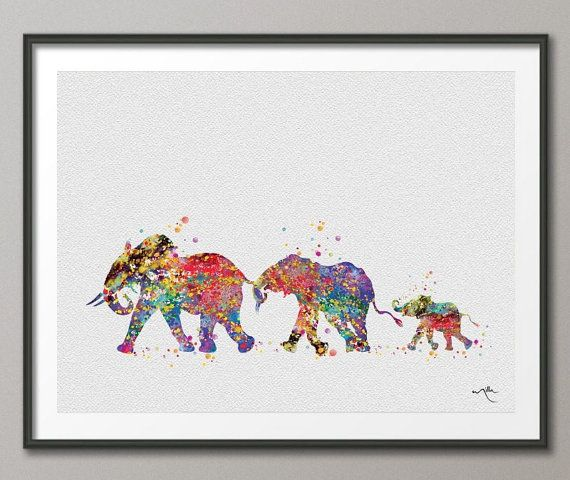 Wedding Gift Painting: Elephant Family Mom Dad And Baby Art Print Watercolor