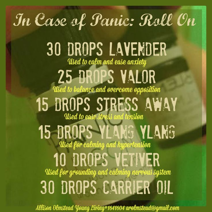 "Anxiety and Panic Attacks. So in light of my most recent panic attack I decided to put my research on Young Living Essential oils to good use and created a ""panic"" blend to roll on for when I need it most. I used an empty 5ml valor bottle put all the oils in, put a roller filament on and I am ready to go. This is the perfect size to keep on me when out and about because lets face it anxiety and panic attacks don't strike when it is most convenient."