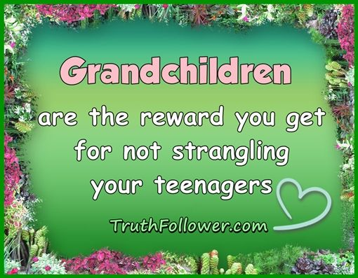 grandkids quotes   Grandchildren are the reward you get for not strangling your teenagers