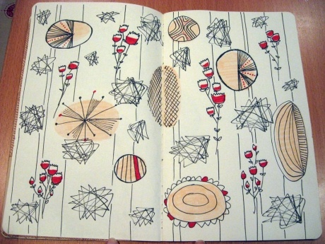 Patterns and sketches from the books of Lucienne Day. Lines running up and down the page hold the forms together, whilst the shapes are heavily influenced by nature and flowers.