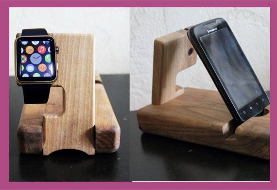 Christmas Present , Docking station, wood charging valet, watch phone organizer stand, wood iphone dock, Docking Stations, Wooden stand,