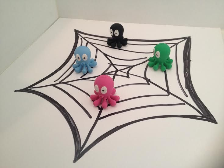 What a pickle! We've been mistaken for flies. We are just octopuses minding our own business and look what happens! Help. #halloweenfun #spider #stationery #tinc Octopus erasers: https://www.tinc.uk.com/products/new-scented-octopus-erasers-multi/