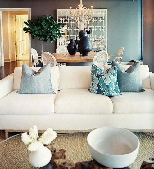 Suzie Pieces Inc Beautiful White Blue Living Room Design With White Modern Sofa Turquoise