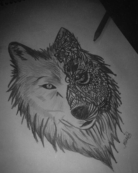 Strange wolf - Desenho à lapis feito por mim.