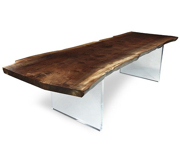 Anyone who knows me, knows I've been wanting a reclaimed wood dining table top for a loooong time. I love the raw edges, grains and flecks in the wood. I even like the plexi base here. Throw in some tufted upholstered chairs and a long crystal chandelier, magnifque!