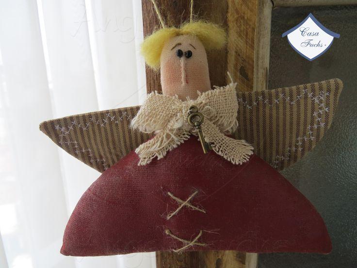 Anjo Primitivo Cabelo Dourado - pingente para árvore de Natal