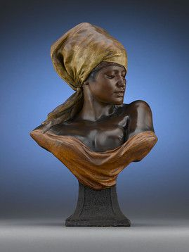 Designed by French sculptor Leveque, this enchanting sculpture exhibits exotic feminine beauty as envisioned by the late 19th-century European imagination. ~ M.S. Rau Antiques