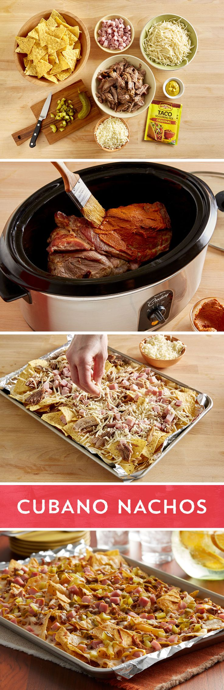 Nachos meet the classic Cuban sandwich in this easy sheet pan dish perfect for crowds. First, slow roasted pork shoulder coated in mustard and Old El Paso™ taco seasoning turns into juicy shredded pork. Ham, Swiss cheese, ham, Monterey Jack cheese join the shredded pork atop a baking sheet of chips before a quick trip in the oven. The final touches of dill pickles and yellow mustard complete the transformation from basic nacho to one with Cuban flair.