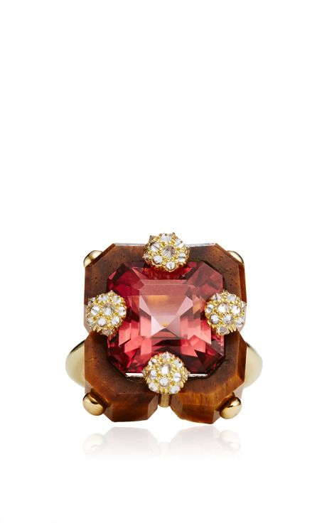 Carved Tigers Eye, Pink Tourmaline And Diamond Square Duo Ring by Nicholas Varney for Preorder on Moda Operandi