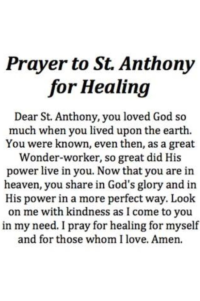 Prayer to St. Anthony for Healing