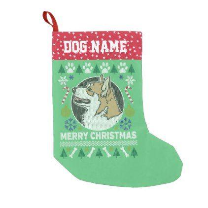 Pembroke Welsh Corgi Dog Ugly Christmas Sweater Small Christmas Stocking - christmas stockings merry xmas cyo family gifts presents