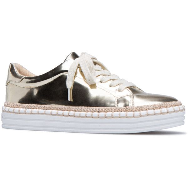 ShoeDazzle Street - Low Yvonnie Womens Gold ❤ liked on Polyvore featuring shoes, sneakers, gold, street - low, low sneakers, gold trainers, gold sneakers, gold shoes and low shoes