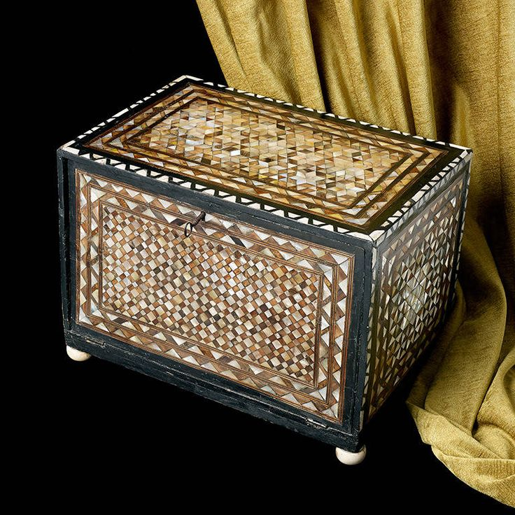 Very Rare Ottoman Table Box from the Ottoman Empire, 1600 A very rare Ottoman table box, the fall front opens to reveal an arrangement of seven drawers; decorated throughout with differing patterns of tortoise shell and mother-of-pearl; approximately 17 1/2 inches wide, 12 1/2 inches high and 11 1/2 inches deep. | From a unique collection of antique and modern boxes at https://www.1stdibs.com/furniture/more-furniture-collectibles/boxes/