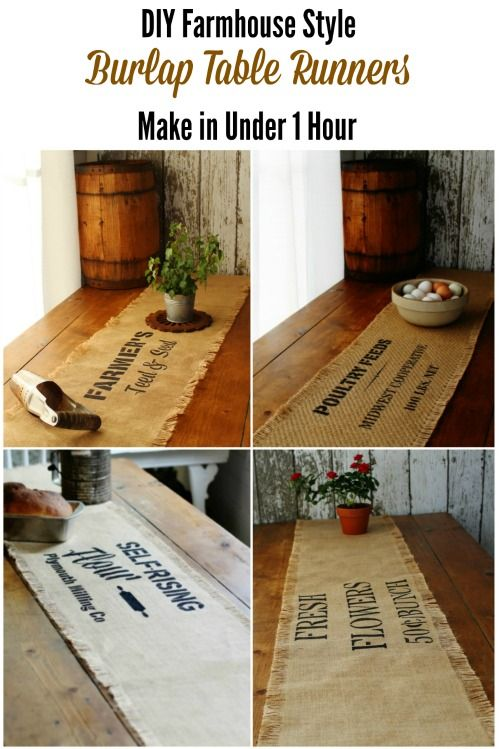 DIY Rustic farmhouse decor burlap table runners tutorial with Knick of Time's Vintage Sign Stencils | www.knickoftime.net