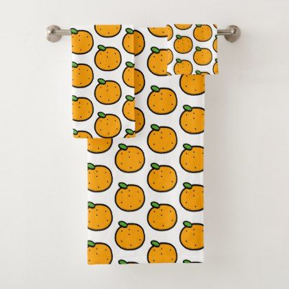 fruit orange bath towel set - home gifts ideas decor special unique custom individual customized individualized