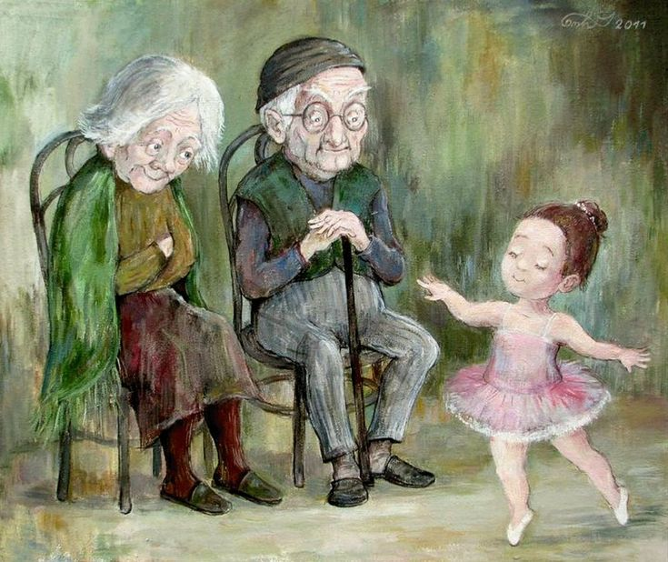 Старички и внуки на полотнах разных художников - Ярмарка Мастеров - ручная работа, handmade