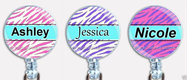 Personalized Colored Zebra Stripes Badge Reel Retractable ID Name Tag Holder #Handmade