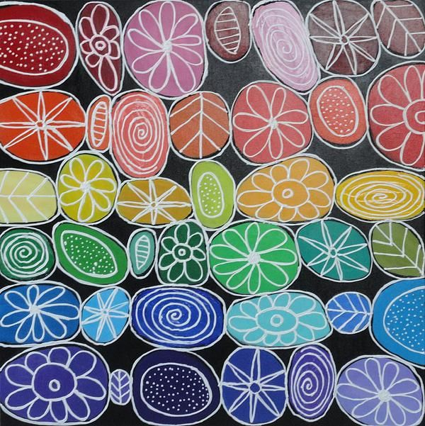 Rainbow Flowers Painting by Elizabeth Langreiter (original at No Ordinary Cafe…