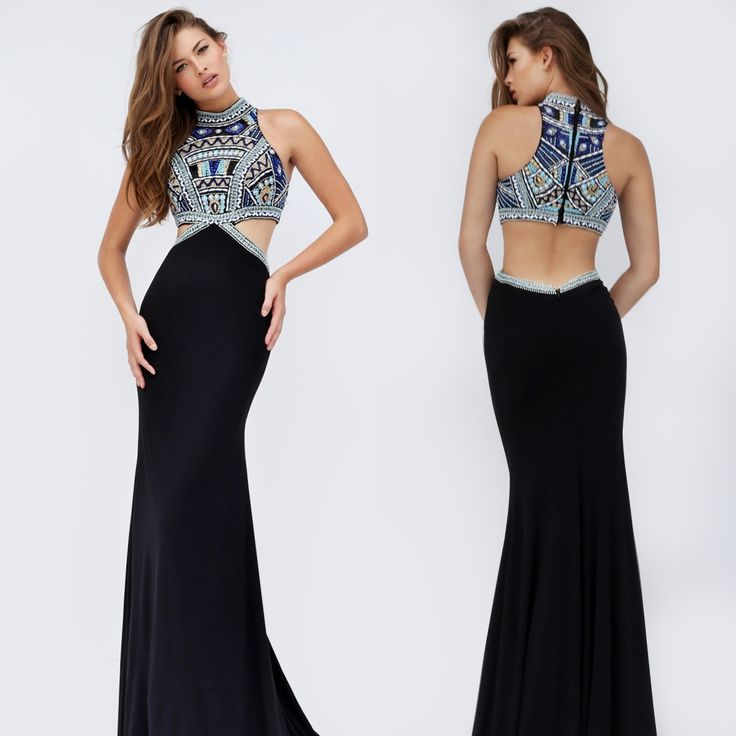 Mock Two Piece High Neck Black Sherri Hill Gown
