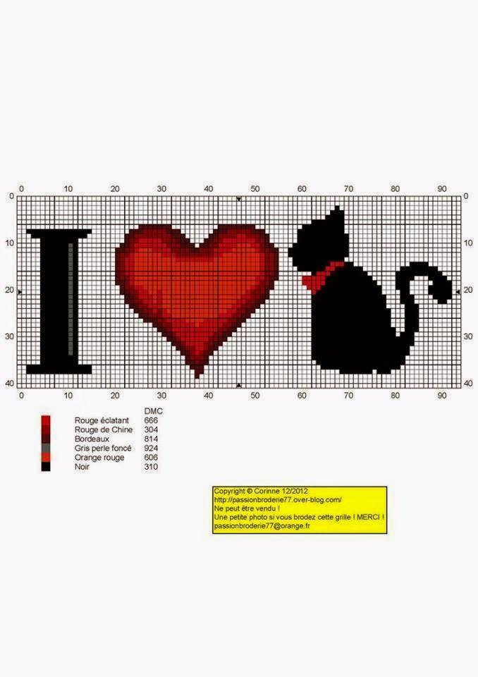 I heart Cat cross stitch pattern