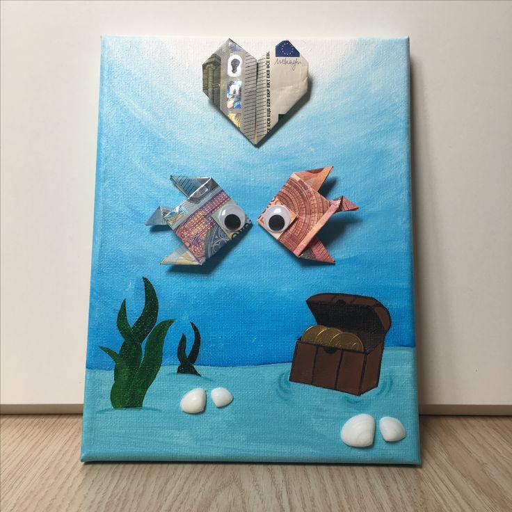 Bruiloft cadeau #geld #vouwen #vissen #hart