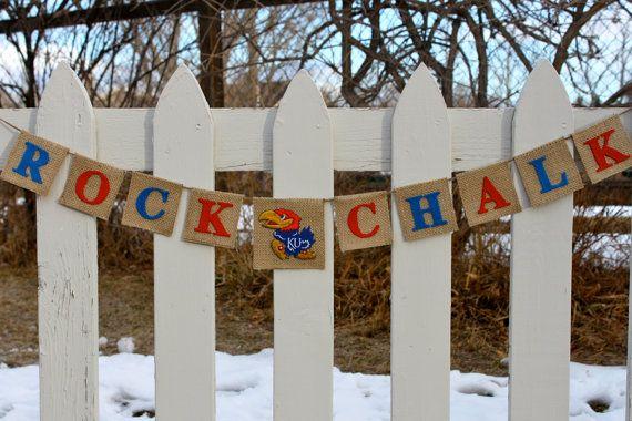 University of Kansas Jayhawks, KU, Rock Chalk Burlap Banner, Bunting, Garland