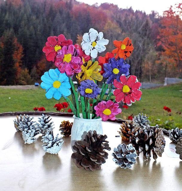 Blondynki Kreatywnie Kwiaty Z Szyszek Painting Art