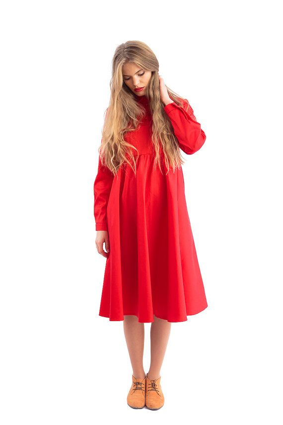 Red Cossette Dress by Ioana Petre Store on Etsy (Peter Pan collar)