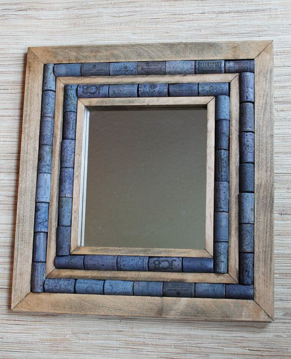 Mirror with Wine Cork Frame, recycled mirror, upcycled home decor, reclaimed wood & blue corks