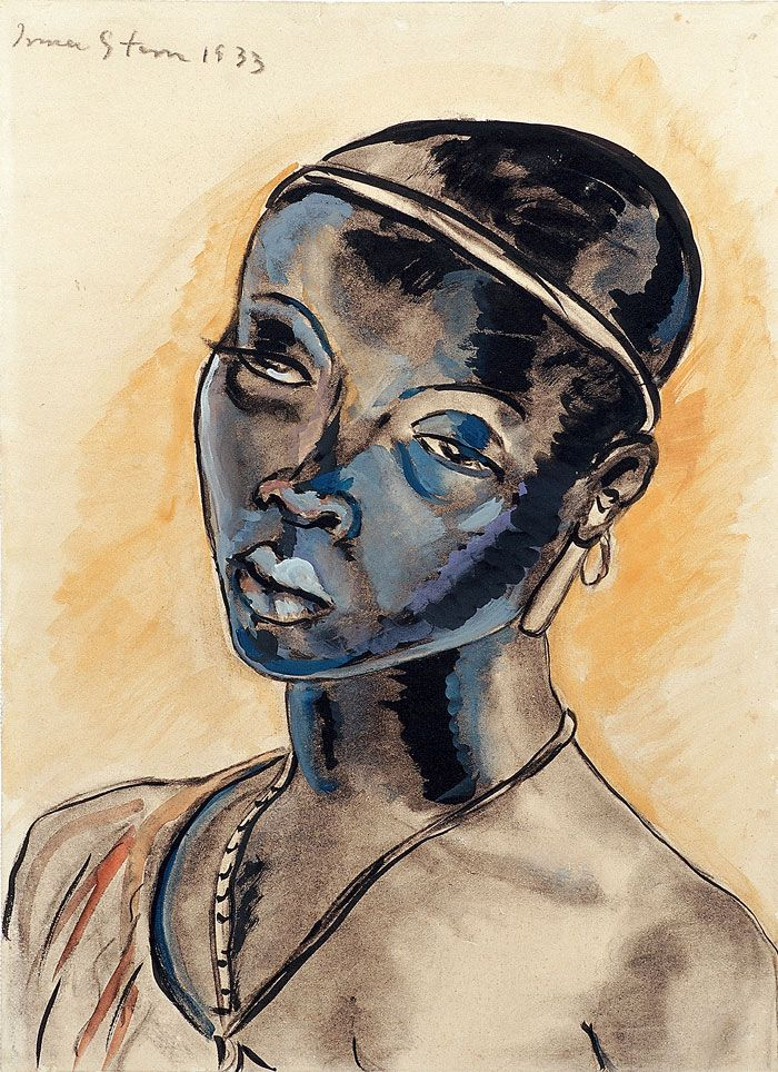 African woman with headband (1933) Irma Stern  Watercolour, gouache and charcoal 49 x 36 cm