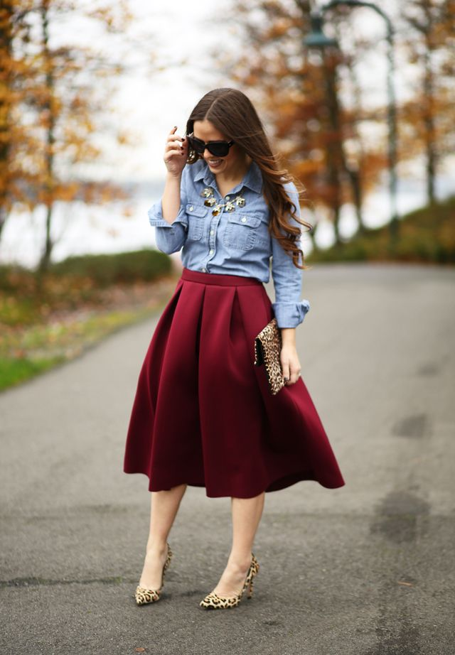 Fit And Flare Ftw Burgundy Skirt Outfit Skirt Outfits