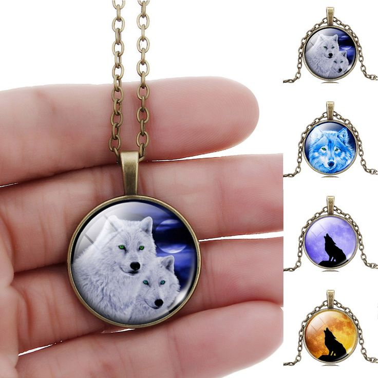 Cool Wolf Picture Pendant Necklace Vintage Bronze Statement Chain Jewelry Summer Style Glass Cabochon Necklace for Women 2017