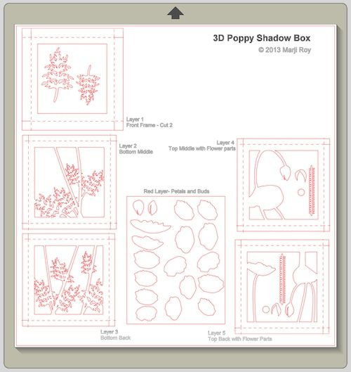 ashbee design silhouette projects 3d poppy shadow box silhouette tutorial arte pinterest. Black Bedroom Furniture Sets. Home Design Ideas