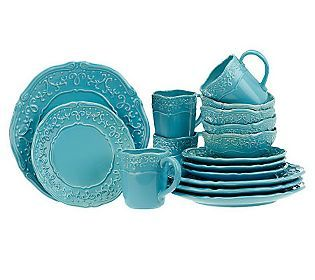 Temp-tations Vintage Grace 16-piece Stoneware Dinnerware Set...luv the cream set!