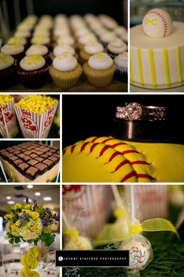 Softball-themed wedding - Tenaya Lodge & Glacier Point Yosemite Wedding - www.johnnystaffordphotography.com - www.addyrosedesign.com - www.cremecake.com