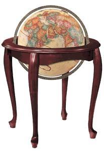 "QUEEN ANNE. 16"" raised relief antique ocean floor globe."