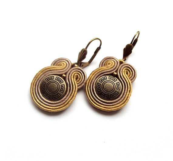 Brown beige bronze mini earrings casual ombre by SaboDesign, $32.00