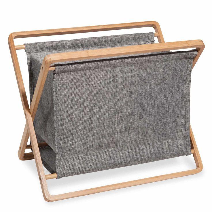 Dagbladhouder in bamboe en grijze stof ALEJANDRO