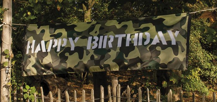 Camo Polyester Banner Happy Birthday - Sisters in Wonderland