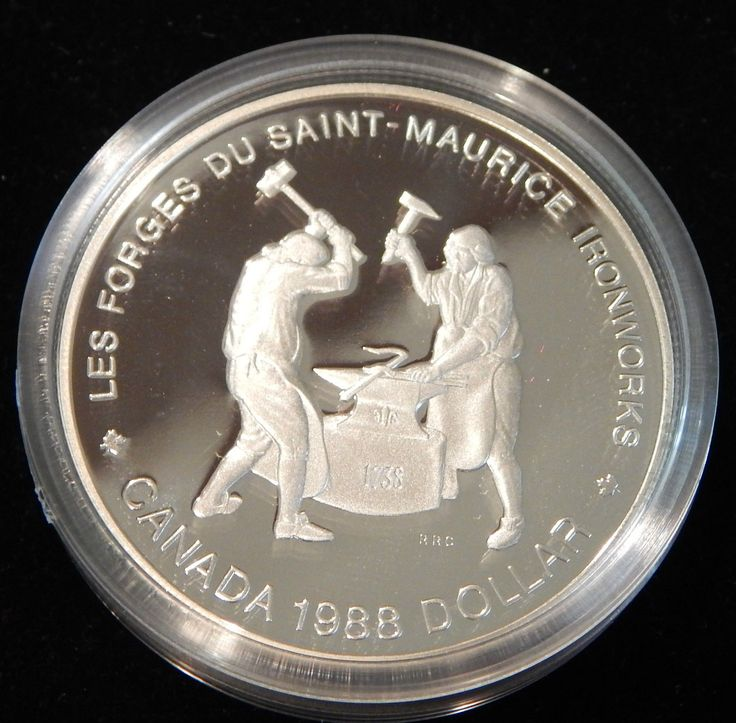 """1988 CANADA SILVER PROOF $1 COMMEMORATIVE COIN """"SAINT-MAURICE IRONWORK""""! BOX/COA    Detailed item info        Product Identifiers   PCGS Number 32616      Key Features   Year 1988   Category CIRCULATING DENOMINATIONS; Silver/Nickel (Large) Dollar; Proof; Elizabeth..."""